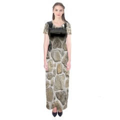 Roof Tile Damme Wall Stone Short Sleeve Maxi Dress