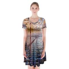 San Francisco Short Sleeve V Neck Flare Dress