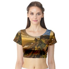 Scotland Landscape Scenic Mountains Short Sleeve Crop Top (tight Fit)
