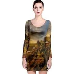 Scotland Landscape Scenic Mountains Long Sleeve Bodycon Dress