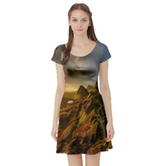 Scotland Landscape Scenic Mountains Short Sleeve Skater Dress