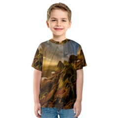 Scotland Landscape Scenic Mountains Kids  Sport Mesh Tee