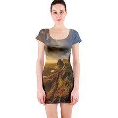 Scotland Landscape Scenic Mountains Short Sleeve Bodycon Dress