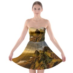 Scotland Landscape Scenic Mountains Strapless Bra Top Dress