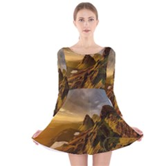 Scotland Landscape Scenic Mountains Long Sleeve Velvet Skater Dress