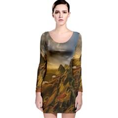 Scotland Landscape Scenic Mountains Long Sleeve Velvet Bodycon Dress
