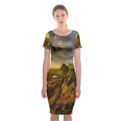Scotland Landscape Scenic Mountains Classic Short Sleeve Midi Dress