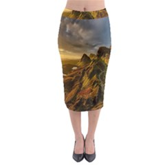 Scotland Landscape Scenic Mountains Midi Pencil Skirt
