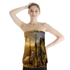 Scotland Landscape Scenic Mountains Strapless Top