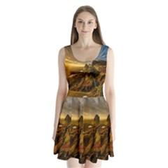 Scotland Landscape Scenic Mountains Split Back Mini Dress