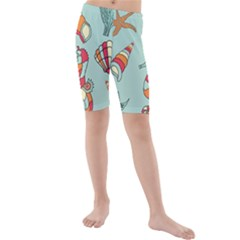 Seahorse Seashell Starfish Shell Kids  Mid Length Swim Shorts