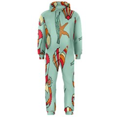 Seahorse Seashell Starfish Shell Hooded Jumpsuit (men)