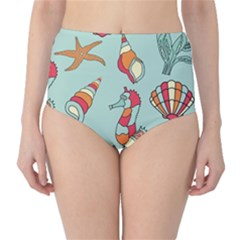 Seahorse Seashell Starfish Shell High Waist Bikini Bottoms