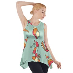 Seahorse Seashell Starfish Shell Side Drop Tank Tunic
