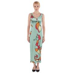 Seahorse Seashell Starfish Shell Fitted Maxi Dress