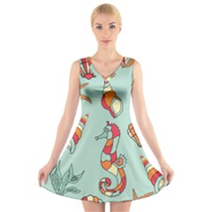 Seahorse Seashell Starfish Shell V Neck Sleeveless Skater Dress