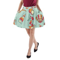 Seahorse Seashell Starfish Shell A-Line Pocket Skirt