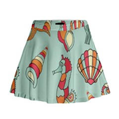 Seahorse Seashell Starfish Shell Mini Flare Skirt