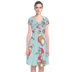 Seahorse Seashell Starfish Shell Short Sleeve Front Wrap Dress