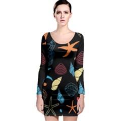 Seahorse Starfish Seashell Shell Long Sleeve Bodycon Dress