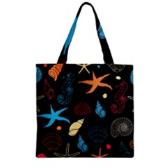 Seahorse Starfish Seashell Shell Zipper Grocery Tote Bag