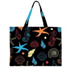 Seahorse Starfish Seashell Shell Zipper Large Tote Bag