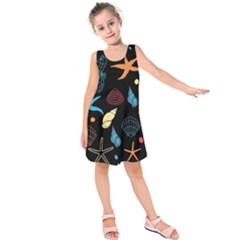 Seahorse Starfish Seashell Shell Kids  Sleeveless Dress