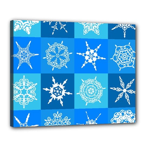 Seamless Blue Snowflake Pattern Canvas 20  x 16