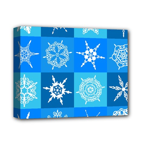 Seamless Blue Snowflake Pattern Deluxe Canvas 14  X 11