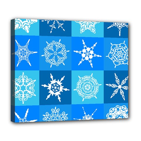 Seamless Blue Snowflake Pattern Deluxe Canvas 24  x 20