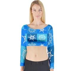 Seamless Blue Snowflake Pattern Long Sleeve Crop Top