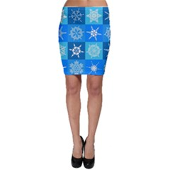Seamless Blue Snowflake Pattern Bodycon Skirt