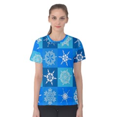 Seamless Blue Snowflake Pattern Women s Cotton Tee