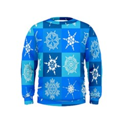 Seamless Blue Snowflake Pattern Kids  Sweatshirt