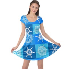 Seamless Blue Snowflake Pattern Cap Sleeve Dresses