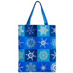 Seamless Blue Snowflake Pattern Zipper Classic Tote Bag