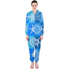 Seamless Blue Snowflake Pattern Hooded Jumpsuit (Ladies)