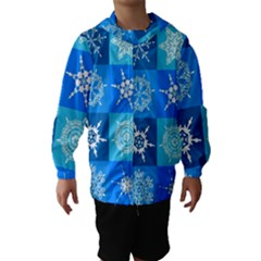 Seamless Blue Snowflake Pattern Hooded Wind Breaker (Kids)