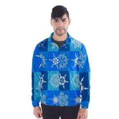 Seamless Blue Snowflake Pattern Wind Breaker (Men)