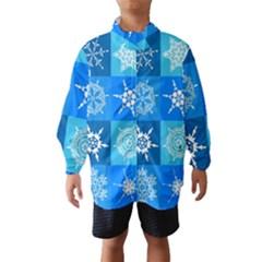 Seamless Blue Snowflake Pattern Wind Breaker (Kids)