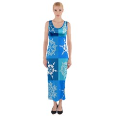 Seamless Blue Snowflake Pattern Fitted Maxi Dress