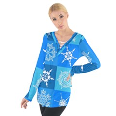 Seamless Blue Snowflake Pattern Women s Tie Up Tee