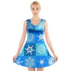 Seamless Blue Snowflake Pattern V-Neck Sleeveless Skater Dress
