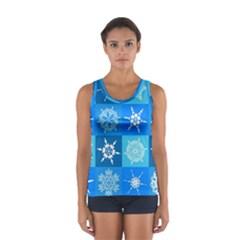 Seamless Blue Snowflake Pattern Women s Sport Tank Top