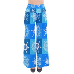 Seamless Blue Snowflake Pattern Pants