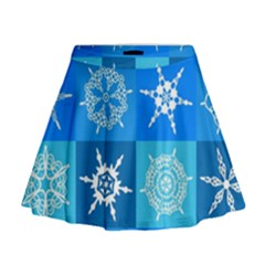 Seamless Blue Snowflake Pattern Mini Flare Skirt