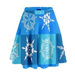 Seamless Blue Snowflake Pattern High Waist Skirt