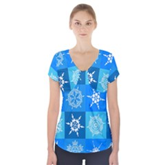 Seamless Blue Snowflake Pattern Short Sleeve Front Detail Top