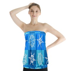 Seamless Blue Snowflake Pattern Strapless Top