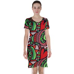 Seamless Tile Background Abstract Short Sleeve Nightdress